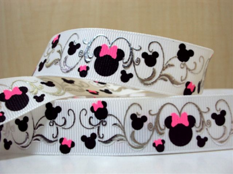 1 METRE LOVELY MINNIE MOUSE RIBBON SIZE 7/8 HEADBANDS HAIR BOWS CARD MAKING BIRTHDAY CAKE